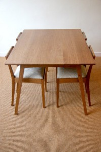 Brown Oak Table and Chairs