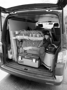 Image of the van packed up for delivery