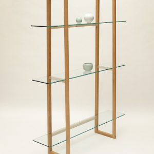 Image of glass and oak shelves