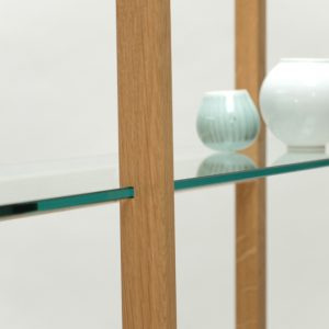 Detail image of glass and oak shelves