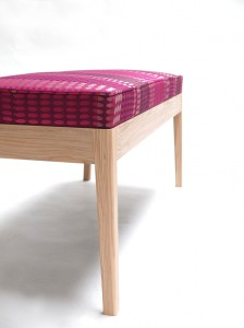 Oscar bench upholstered in Rozella fabric
