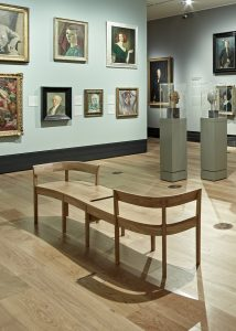 An image of gallery seating in the National Portrait Gallery