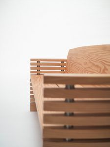 A detail view of the bench I made for Westonbirt Arboretum