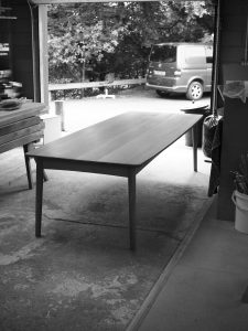 image of the oak table in the goods out area of the workshop